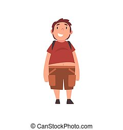 Smiiling Fat Boy, Cute Overweight Child Character Vector...