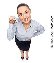 smil, businesswoman, hos, hus nøgle