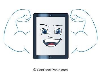 smil, computer, mægtige, tablet