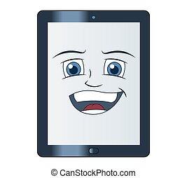 smil, computer, tablet