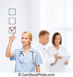 smil, doktor, eller, sygeplejerske, pege, checkmark