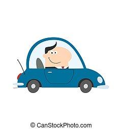 smil, driftsleder, kørende, automobilen, til arbejd