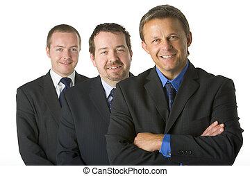 smil, forretningsmænd, gruppe