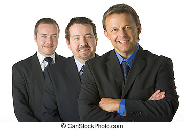 smil, gruppe, forretningsmænd