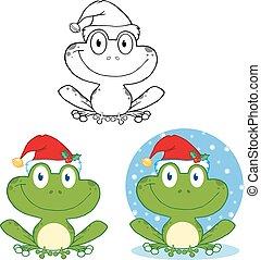smil, jul, samling, frog.