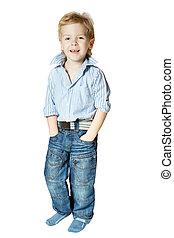 smil, lille dreng, beliggende, og, kigge kamera hos