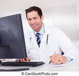 smil, medicinsk doktor, hos, stetoskop