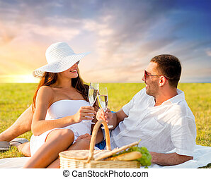 smil, par, nydelse, champagne, hos, skovtur
