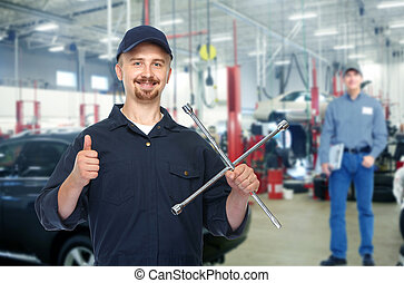 smil, repairman, hos, dæk, wrench.