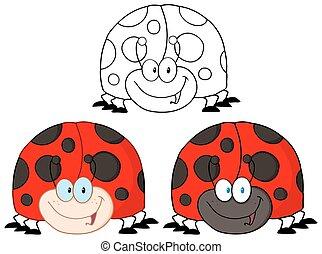 smil, sæt, ladybird., samling
