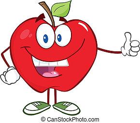 smil, tommelfinger, æble, holde