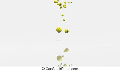 3d animation of falling emoticons