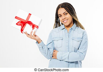 smile afro american woman holding a gift box with red ribbon