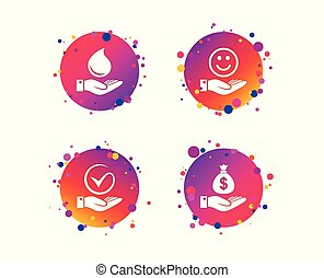 Smile and hand icon. Water drop, Tick symbol. Vector - Smile...