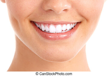 Smile and healthy teeth. - Healthy woman teeth and smile. ...
