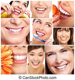 Smile and teeth. - Beautiful woman smile and teeth collage....