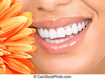 smile and teeth - Beautiful woman smile, teeth and a fresh...