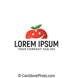 smile apple fruit logo design concept template