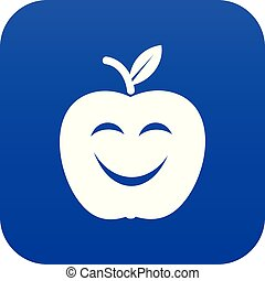 Smile apple icon blue vector