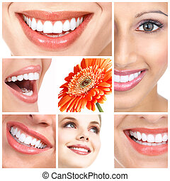 Smile - Beautiful woman smiles and teeth. Over white...