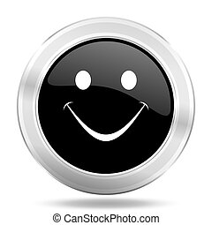 smile black icon, metallic design internet button, web and mobile app illustration