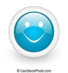 smile blue circle glossy web icon on white background