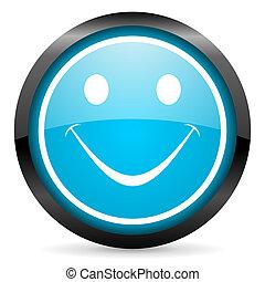 smile blue glossy circle icon on white background