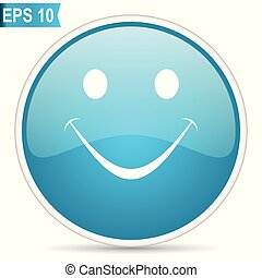 Smile blue glossy round vector icon in eps 10. Editable modern design internet button on white background.