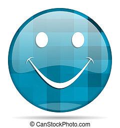 smile blue round modern design internet icon on white background