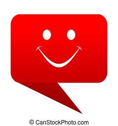 smile bubble red icon