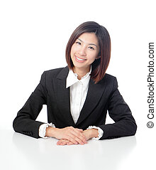 Smile business woman with white background