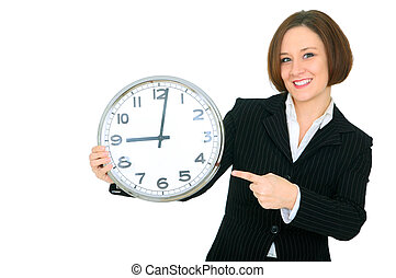 Smile Businesswoman Point At Clock Show 9