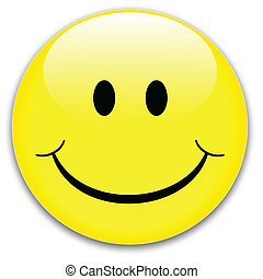 Smile button - Happy yellow smile button, vector.