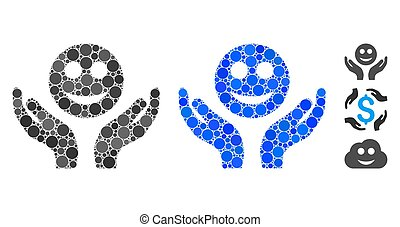 Smile Care Hands Mosaic Icon of Spheric Items