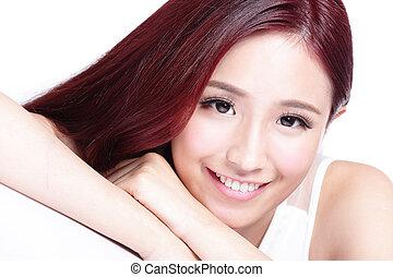smile, charmerende, ansigt kvinde