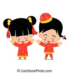 Smile chinese boy and girl on the white background vector illustration