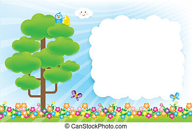 Smile cloud and butterfly on sky background