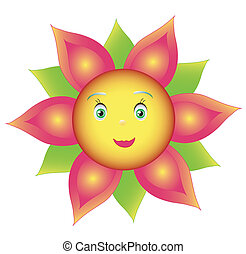 Smile colored flower or sunflower - Vector , object isolated...