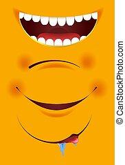 Smile constructor cartoon emoticon emoji yellow smiles mouth vector icons set