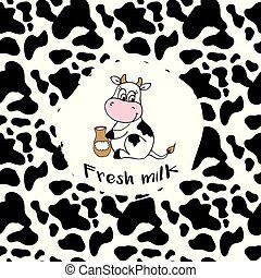 Smile cow and texture pattern repeated seamless