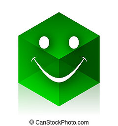 smile cube icon, green modern design web element