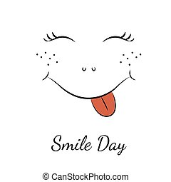 Smile day symbol element. Cartoon character smiley face with red sticky tongue, nose, freckles and wink eyes. Black line drawing isolated on white background. Vector design illustration.