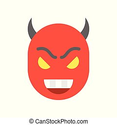 smile devil, halloween character set icon, flat design