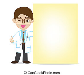Smile doctor with blank note paper
