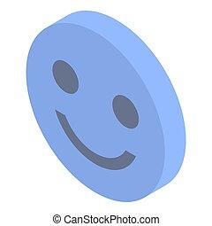 Smile emoji icon, isometric style