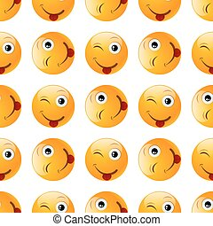smile emoji seamless on white background. vector...