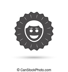 Smile face icon. Smiley with hairstyle symbol.