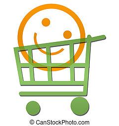 Smile Face Inside Shopping Cart
