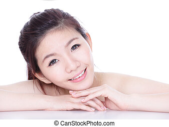 Smile face of a woman with health skincare
