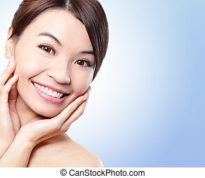 Smile Face of woman with health teeth - Smile happy Face of...